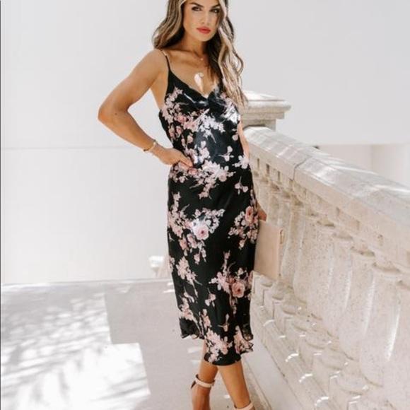 Kamal floral midi slip dress